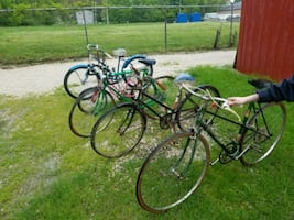 Lot of old bicycles and tricycles