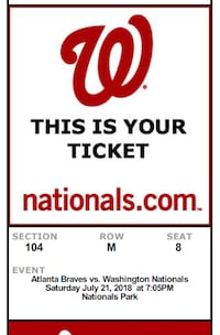 3 Tickets to Braves @ Nathionals Saturday Night MCLEAN