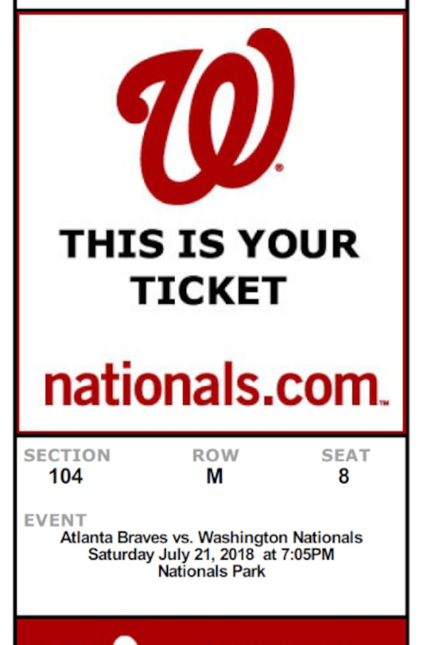 3 Tickets to Braves @ Nathionals Saturday Night
