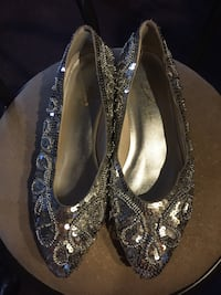 Designer silver sequin beaded size 9 shoes euc New Bedford, 02745