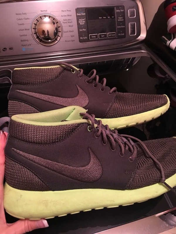 83e4b7fb7d5f4 Used Men s size 8 1 2 high top Nike Roshe runners. Grey with bright green  soles. Lightly worn. Excellent condition. for sale in Regina - letgo