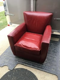 Crate and barrel red polyester swivel chair