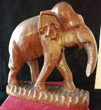 Exquisite Carved and Detailed Vintage Wood Elephan