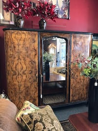 Large 3 Door Burled Wood Wardrobe