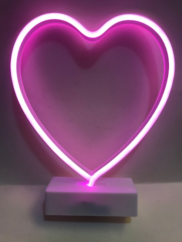 Yiiy Pink Heart Shaped Neon Light Desk Table Lamp Led Figurine Lamps Lights