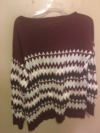Women's brown and white sweater
