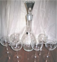 BAR DECANTER + 6 WINE GLASSES ETCHED SHIP On Crystal - Nautical Home or Boat Decor CHICAGO