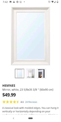 Hemnes white framed mirror