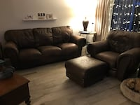 Leather Couch Chair and Ottoman L@@K!!