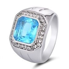Mens Fashion 10KT White Gold Plated Wedding Band Turquoise CZ Ring Gifts Size 15 997226f8-c37c-4590-834f-5bfbc9be58e6