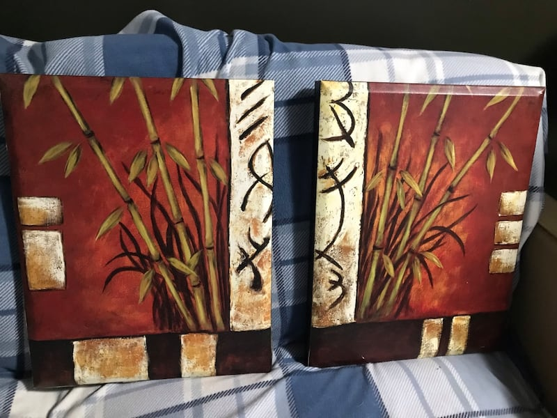 2 painted bamboo canvas pictures 70af0797-5aa3-4c64-bd9e-300e1f7f68c6