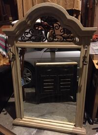 Antique white wood and wrought iron mirror. Los Angeles, 90731