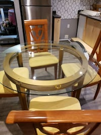 Glass table with 6 custom chairs