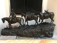 """R. CLARK, BRONZE SCULPTURE, LATER 20TH C., H 28"""", L 62"""", D 15"""", COWBOY AND HORSES Roswell"""