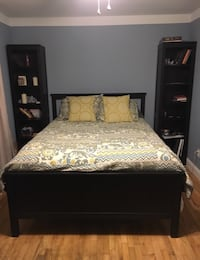 Queen Bed Frame and Two Narrow Book Cases KNOXVILLE