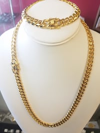 "18K Gold Plated 8mm 24"" Miami Link Cuban Chain & Bracelet Set Mississauga"