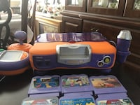 orange and purple game console toy