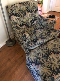 Elephant and jungle chair and ottoman set