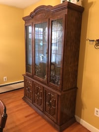 Brown wooden framed glass display cabinet,  East Hartford, 06118