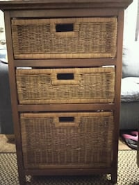 Wood & Wicker (3) drawer stand