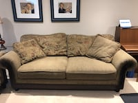 3 piece sofa, loveseat and chair. Brown fabric, cushions are reversible to plain or floral print. Excellent condition. Must pick up   Markham, L3T 2K1
