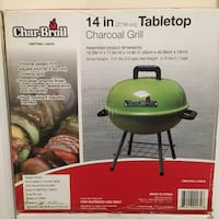 New In Box Char-Broil 14in Tabletop Charcoal Grill Sterling, 20166