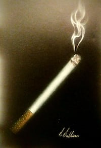 Cigarette drawing on black paper