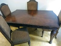 rectangular brown wooden dining table with chairs 702 km