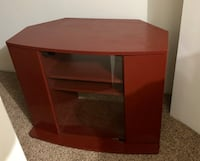 Burgundy solid tv stand with glass doors Virginia Beach, 23451