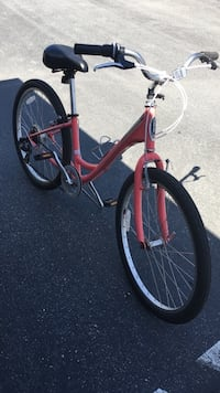 red and black cruiser bike