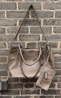 Large Taupe/Grey Purse with Crossbody Strap