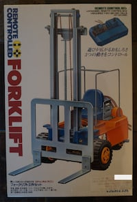 Tamiya Remote Controlled Forklift Brand New & Sealed! Few Available.  FEATURES  Uses three motors to simulate the movements of a full sized forklift.  Forward/reverse movement, steering and lift operation can be  controlled by a 3-channel remote control b Toronto