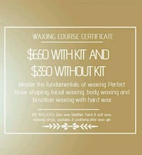 Waxing course available  Brampton