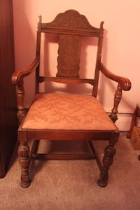 VINTAGE/ANTIQUE WOODEN CHAIRS - ABOUT 100 YEARS OLD - 3 SIDE CHAIRS AND 1 ARM CHAIR