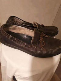 pair of black leather boat shoes Vancouver