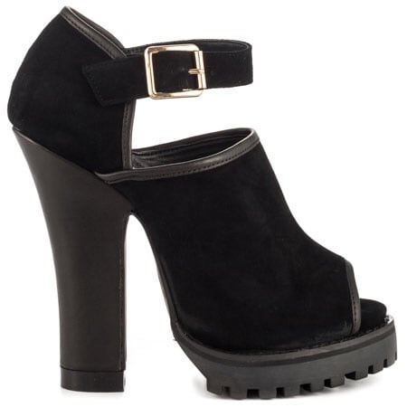 Black suede peep toe chunky heeled ankle strap shoes