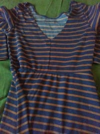 women's blue and brown striped v-neck top
