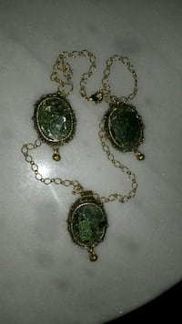 Necklace & Earrings: Green Glass Ornate Metal Set Glassboro, 08028