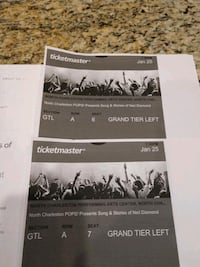 2 tickets to Neil Diamond tribute concert