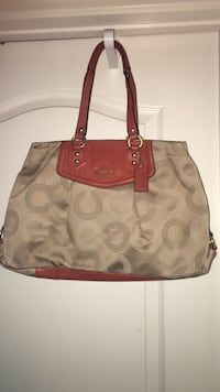 women's brown and gray Coach tote bag