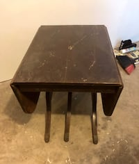 Vintage Drop Side Six Leg Table with Brass Feet Henryville, 18321