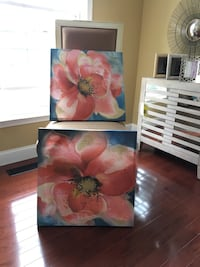 Two pink flower paintings