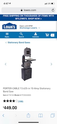 Porter and cable table bandsaw Anchorage, 99501