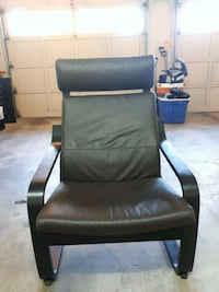 black leather padded armchair with ottoman Surrey, V3R 5V2