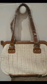 brown and off white leather tote bag Dollard-des-Ormeaux