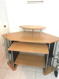Brown wooden computed desk with disk racks Lake Worth, 33463