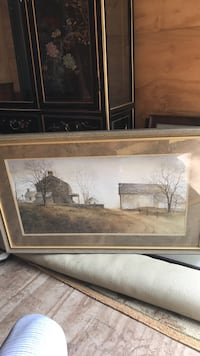 painting of a two black and white barns Fairfax, 22030
