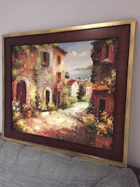 Brown wooden framed painting of house Toronto, M9N 2Z6