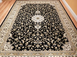 Black Traditional Area rug New 5x8 rugs Gold