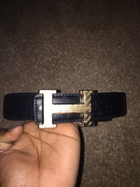 black leather Hermes belt with buckle